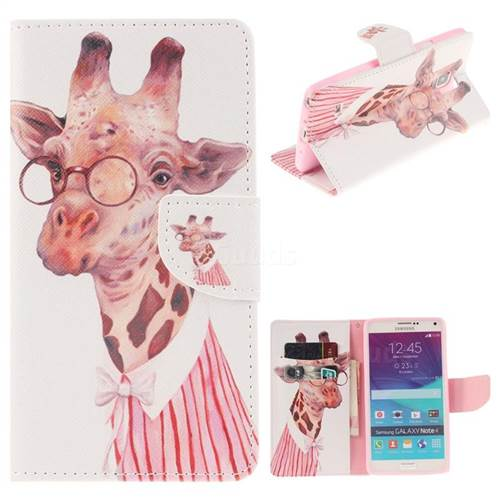 Pink Giraffe PU Leather Wallet Case for Samsung Galaxy Note4