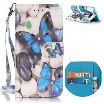 Blue Butterflies 3D Painted Leather Wallet Case for Samsung Galaxy Note 7