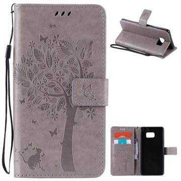 Embossing Butterfly Tree Leather Wallet Case for Samsung Galaxy Note7 N930 - Grey