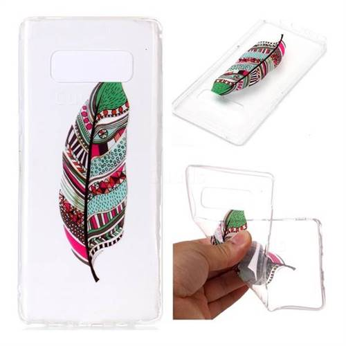 Green Feathers Super Clear Soft TPU Back Cover for Samsung Galaxy Note 8