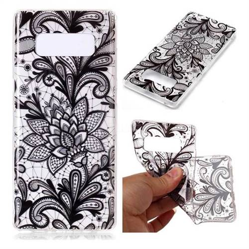 Black Rose Super Clear Soft TPU Back Cover for Samsung Galaxy Note 8