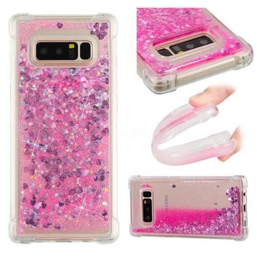 Dynamic Liquid Glitter Sand Quicksand TPU Case for Samsung Galaxy Note 8 - Pink Love Heart