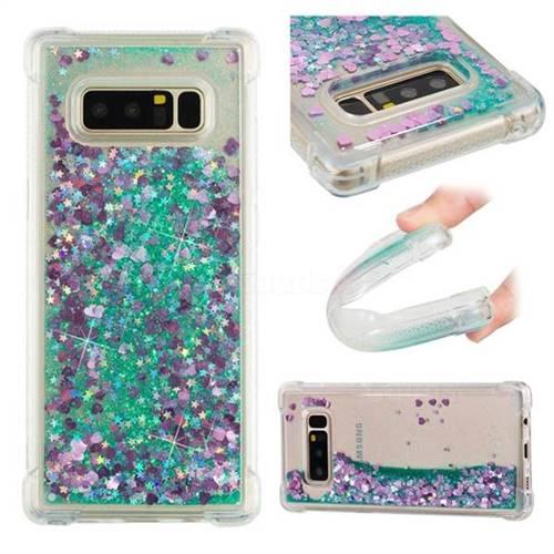 Dynamic Liquid Glitter Sand Quicksand TPU Case for Samsung Galaxy Note 8 - Green Love Heart