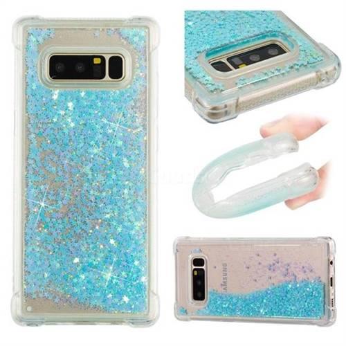 Dynamic Liquid Glitter Sand Quicksand TPU Case for Samsung Galaxy Note 8 - Silver Blue Star