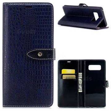 Luxury Retro Crocodile PU Leather Wallet Case for Samsung Galaxy Note 8 - Sapphire