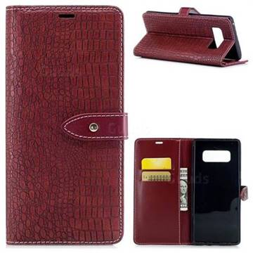 Luxury Retro Crocodile PU Leather Wallet Case for Samsung Galaxy Note 8 - Red Wine