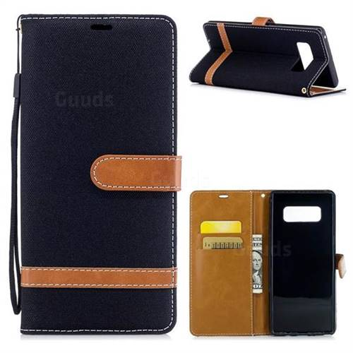 Jeans Cowboy Denim Leather Wallet Case for Samsung Galaxy Note 8 - Black