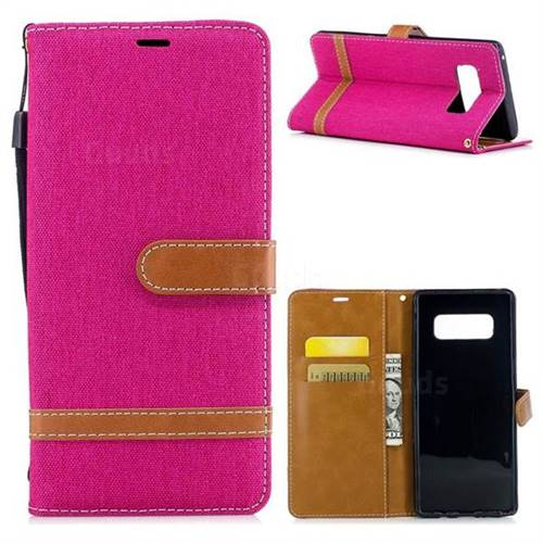 Jeans Cowboy Denim Leather Wallet Case for Samsung Galaxy Note 8 - Rose