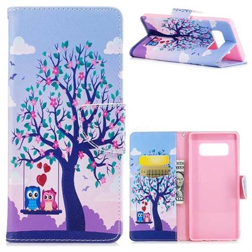 Tree and Owls Leather Wallet Case for Samsung Galaxy Note 8
