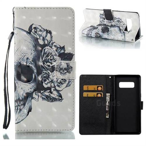 Skull Flower 3D Painted Leather Wallet Case for Samsung Galaxy Note 8