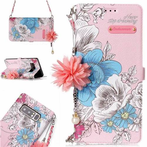 Pink Blue Rose Endeavour Florid Pearl Flower Pendant Metal Strap PU Leather Wallet Case for Samsung Galaxy Note 8