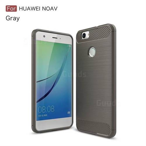 Luxury Carbon Fiber Brushed Wire Drawing Silicone TPU Back Cover for Huawei Nova (Gray)