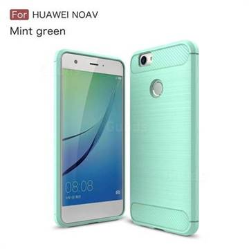 Luxury Carbon Fiber Brushed Wire Drawing Silicone TPU Back Cover for Huawei Nova (Mint Green)