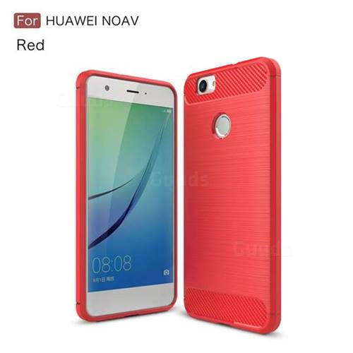 Luxury Carbon Fiber Brushed Wire Drawing Silicone TPU Back Cover for Huawei Nova (Red)