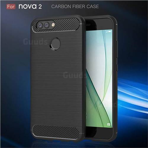 Luxury Carbon Fiber Brushed Wire Drawing Silicone TPU Back Cover for Huawei Nova 2 (Black)