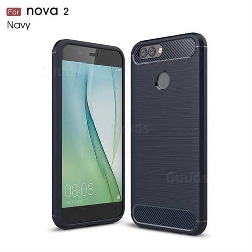 Luxury Carbon Fiber Brushed Wire Drawing Silicone TPU Back Cover for Huawei Nova 2 (Navy)