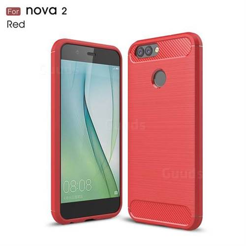Luxury Carbon Fiber Brushed Wire Drawing Silicone TPU Back Cover for Huawei Nova 2 (Red)