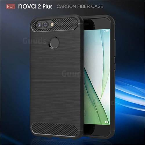 Luxury Carbon Fiber Brushed Wire Drawing Silicone TPU Back Cover for Huawei Nova 2 Plus (Black)