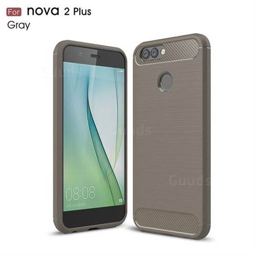 Luxury Carbon Fiber Brushed Wire Drawing Silicone TPU Back Cover for Huawei Nova 2 Plus (Gray)