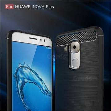 Luxury Carbon Fiber Brushed Wire Drawing Silicone TPU Back Cover for Huawei Nova Plus (Black)