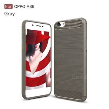Luxury Carbon Fiber Brushed Wire Drawing Silicone TPU Back Cover for Oppo A39 (Gray)