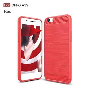 Luxury Carbon Fiber Brushed Wire Drawing Silicone TPU Back Cover for Oppo A39 (Red)