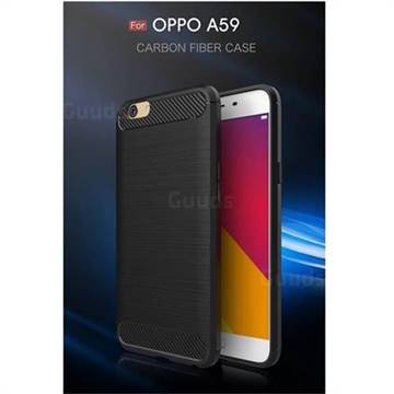 Luxury Carbon Fiber Brushed Wire Drawing Silicone TPU Back Cover for Oppo A59 (Black)