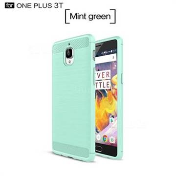 Luxury Carbon Fiber Brushed Wire Drawing Silicone TPU Back Cover for OnePlus 3T 3 (Mint Green)