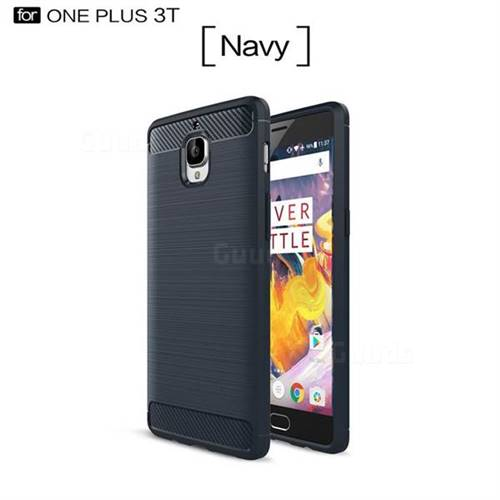 Luxury Carbon Fiber Brushed Wire Drawing Silicone TPU Back Cover for OnePlus 3T 3 (Navy)