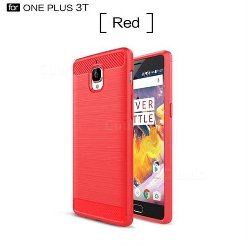 Luxury Carbon Fiber Brushed Wire Drawing Silicone TPU Back Cover for OnePlus 3T 3 (Red)
