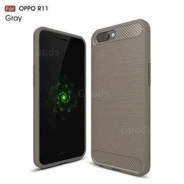 Luxury Carbon Fiber Brushed Wire Drawing Silicone TPU Back Cover for Oppo R11 (Gray)