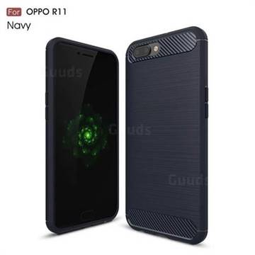 Luxury Carbon Fiber Brushed Wire Drawing Silicone TPU Back Cover for Oppo R11 (Navy)