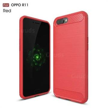 Luxury Carbon Fiber Brushed Wire Drawing Silicone TPU Back Cover for Oppo R11 (Red)