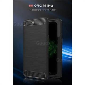 Luxury Carbon Fiber Brushed Wire Drawing Silicone TPU Back Cover for Oppo R11 Plus (Black)