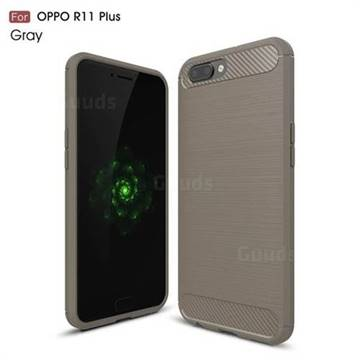 Luxury Carbon Fiber Brushed Wire Drawing Silicone TPU Back Cover for Oppo R11 Plus (Gray)