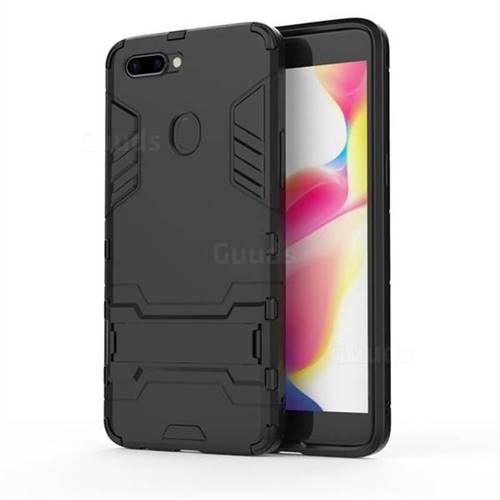 Armor Premium Tactical Grip Kickstand Shockproof Dual Layer Rugged Hard Cover for Oppo R11s Plus - Black
