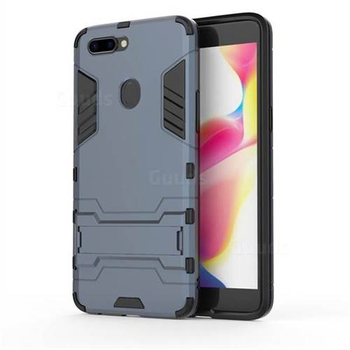 Armor Premium Tactical Grip Kickstand Shockproof Dual Layer Rugged Hard Cover for Oppo R11s Plus - Navy