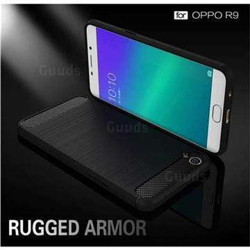 Luxury Carbon Fiber Brushed Wire Drawing Silicone TPU Back Cover for Oppo R9 (Black)