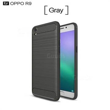Luxury Carbon Fiber Brushed Wire Drawing Silicone TPU Back Cover for Oppo R9 (Gray)