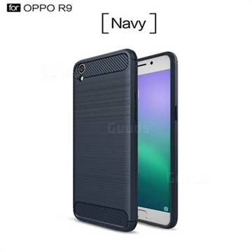 Luxury Carbon Fiber Brushed Wire Drawing Silicone TPU Back Cover for Oppo R9 (Navy)