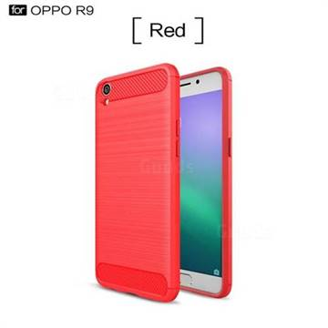 Luxury Carbon Fiber Brushed Wire Drawing Silicone TPU Back Cover for Oppo R9 (Red)