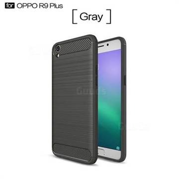 Luxury Carbon Fiber Brushed Wire Drawing Silicone TPU Back Cover for Oppo R9 Plus (Gray)