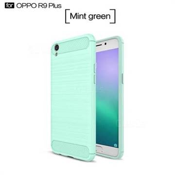 Luxury Carbon Fiber Brushed Wire Drawing Silicone TPU Back Cover for Oppo R9 Plus (Mint Green)