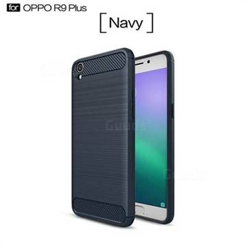 Luxury Carbon Fiber Brushed Wire Drawing Silicone TPU Back Cover for Oppo R9 Plus (Navy)