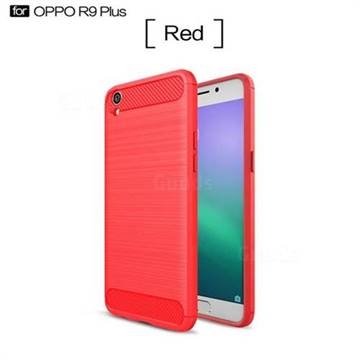 Luxury Carbon Fiber Brushed Wire Drawing Silicone TPU Back Cover for Oppo R9 Plus (Red)