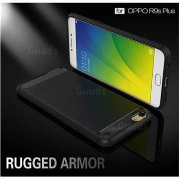 Luxury Carbon Fiber Brushed Wire Drawing Silicone TPU Back Cover for Oppo R9s Plus (Black)