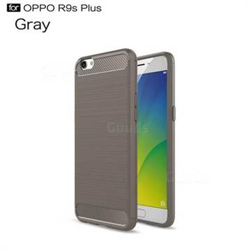 Luxury Carbon Fiber Brushed Wire Drawing Silicone TPU Back Cover for Oppo R9s Plus (Gray)