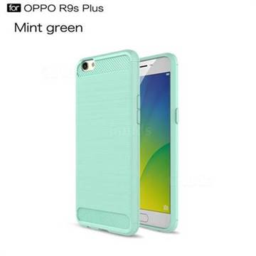 Luxury Carbon Fiber Brushed Wire Drawing Silicone TPU Back Cover for Oppo R9s Plus (Mint Green)