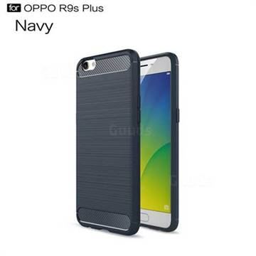 Luxury Carbon Fiber Brushed Wire Drawing Silicone TPU Back Cover for Oppo R9s Plus (Navy)