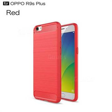 Luxury Carbon Fiber Brushed Wire Drawing Silicone TPU Back Cover for Oppo R9s Plus (Red)